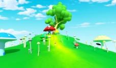 蘑菇动画场景图片