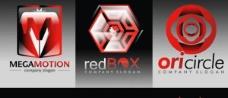3个强大的红色和黑色的矢量标志