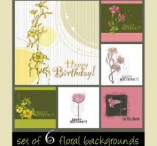6花的手绘背景矢量素材