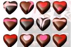 12美味的巧克力心矢量圖標集