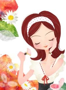 化妆的卡通美女图片