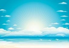 理想的一天在沙灘上向量的日出