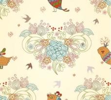 鸟类的奶油花图案背景矢量