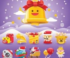 10圣诞节卡通矢量图标集