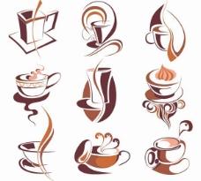 12摘要咖啡杯图标矢量图形
