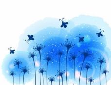 蓝色的花田景观背景矢量