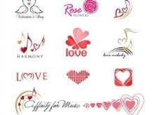 11情人节心向量标识集
