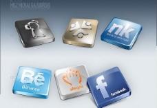 6平滑的三维的社交媒体图标集PSD