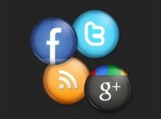 4光圆的社交媒体按钮设置PSD
