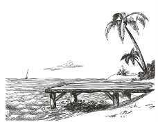 手绘海边风景
