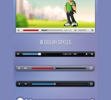 6个自定义视频播放器PSD皮