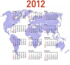 2012世界地图矢量日历