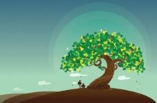 孤独的愿望树矢量插画