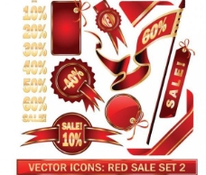 红色的向量元素包装销售折扣