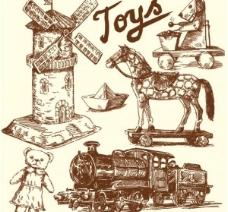 旧货手工绘制矢量图形的玩具