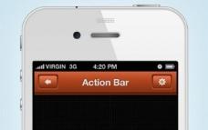 时尚的手机应用程序的动作条接口PSD