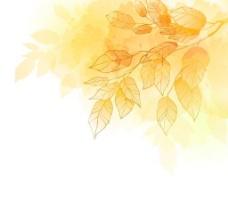 金色的秋天树叶背景矢量素材1