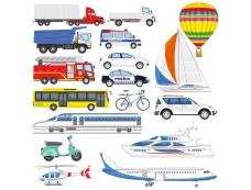 各种交通工具集合矢量素材