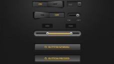 详细的黑暗的Web UI元素盒PSD