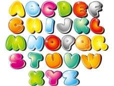可爱卡通字母矢量素材
