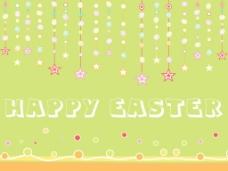 绿色背景挂星和鸡蛋