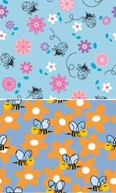 小蜜蜂蓝色无缝连接背景图案素材
