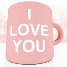 我爱你的杯子的背景虚化背景呈现出浪漫的情人节