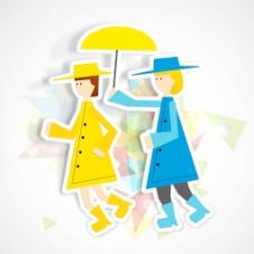 情人节快乐的概念有两个可爱的女孩拿着伞上丰富多彩的背景