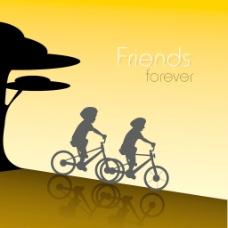 情人节快乐的概念剪影的男孩骑褐色背景