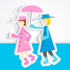 情人节快乐的概念 灰色和蓝色的背景 伞下的女孩剪影