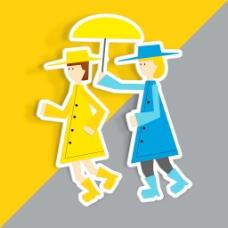 情人节快乐的概念上的橙色和灰色背景两个女孩插画