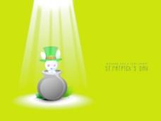 快乐的圣巴特里克节概念与可爱小兔子坐在传统的泥锅妖精帽子上闪闪发光的绿色背景