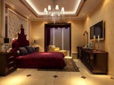 豪华的卧室背景墙