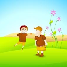 情人节快乐的概念与朋友在自然背景玩球