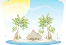 夏季热带海岛旅游背景矢量04