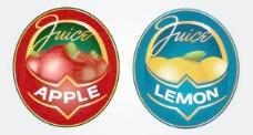 苹果汁的柠檬汁的标签标识