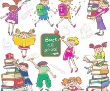 可爱的彩色卡通男孩和女孩01矢量图像的可爱的男孩女孩