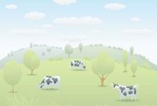 卡通奶牛和自然风景矢量
