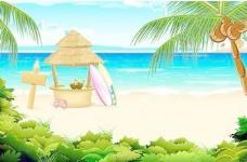 冲浪板在海滩上,免费的矢量。