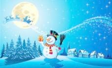 美丽的圣诞夜冬季矢量背景01