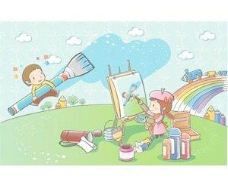 孩子们玩景观的天空