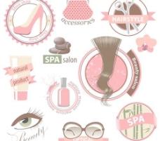 创意化妆标志和标签的向量