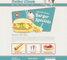 快餐网站模板PSD