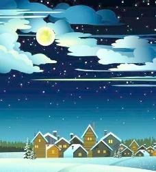 迷人的冬天的夜晚景观设计矢量图04