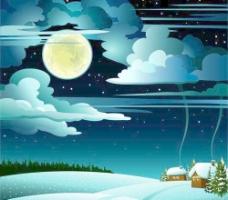 迷人的冬天的夜晚景观设计矢量图01