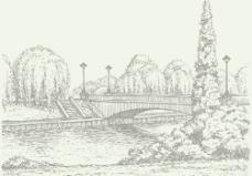 手画桥的复古风格矢量03