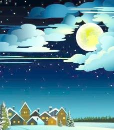 迷人的冬天的夜晚景观设计矢量图02