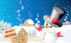 可爱的圣诞雪人的设计元素矢量集09