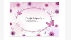蝴蝶花朵绿叶图案背景设计矢量素材