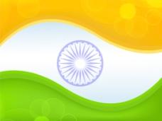 印度国旗颜色的背景与波的创意